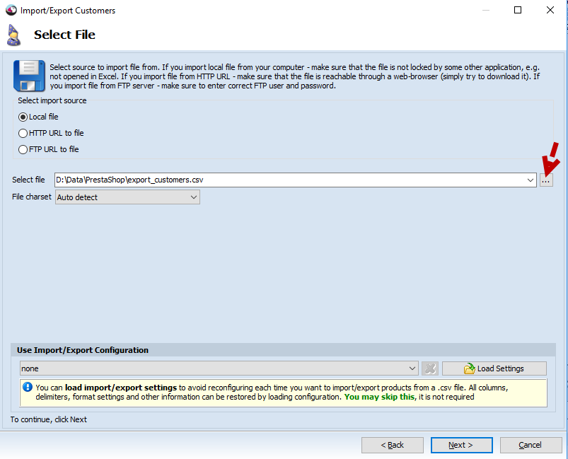 Select file step