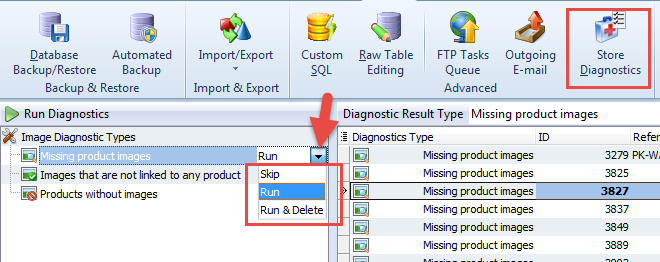 Diagnostics drop-down list
