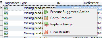 Missing products images menu
