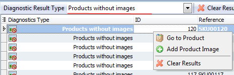 Products without images menu