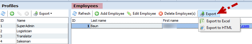 Export option of Employee section