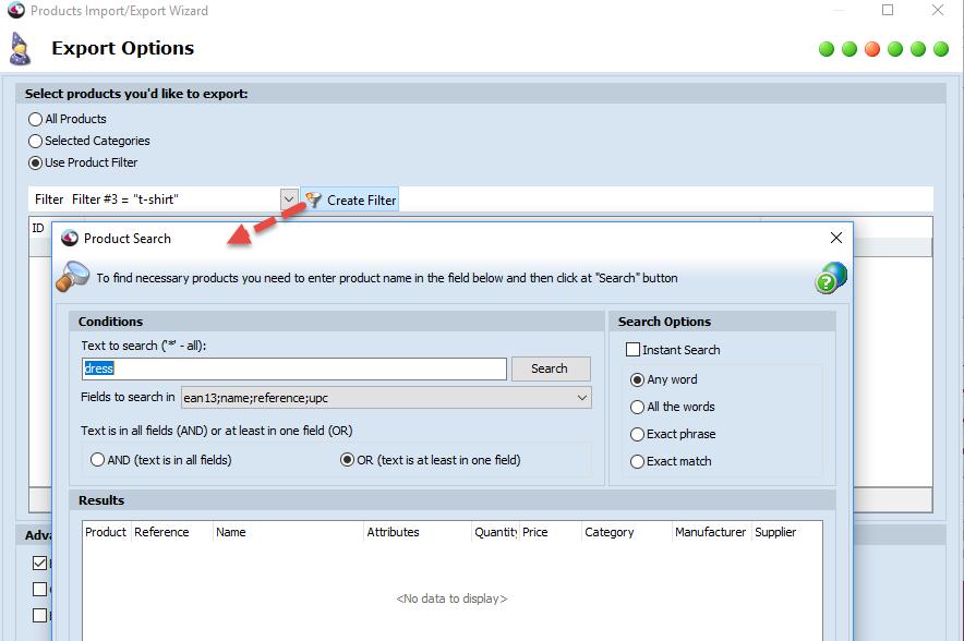 Create filter in Products Options step