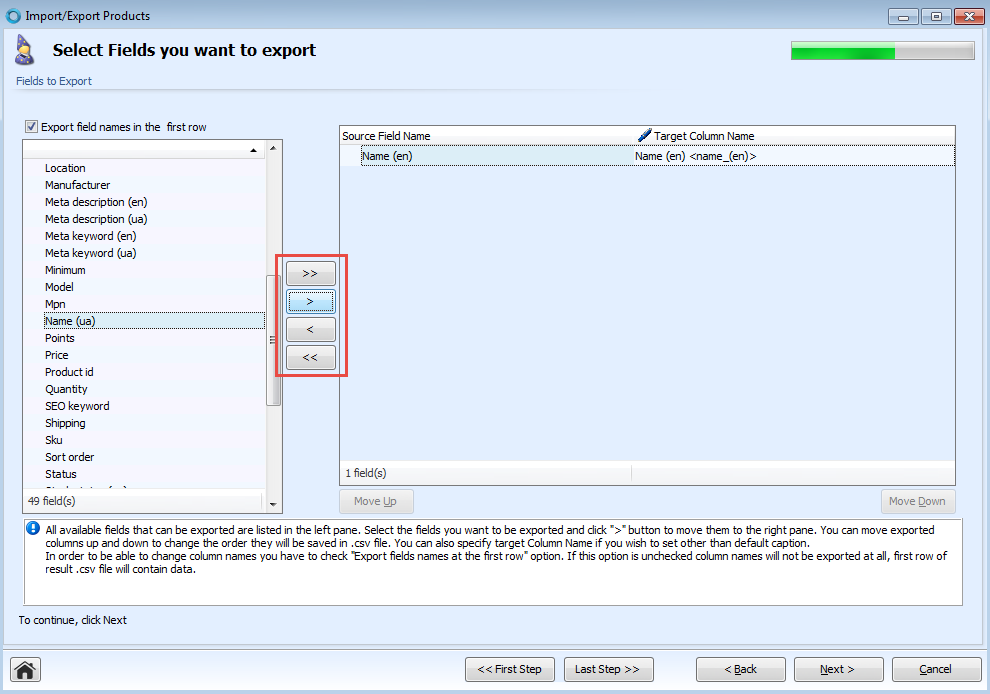 Select fields you want to export