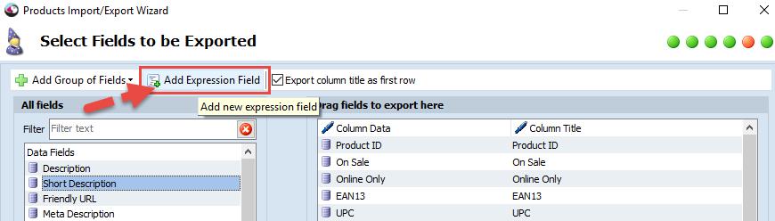 Add Expression Field option