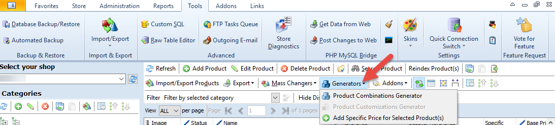 Generators option in the Products top toolbar