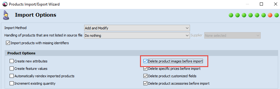 Delete images before import