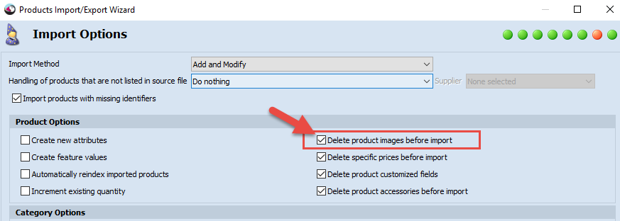 Delete product images before import
