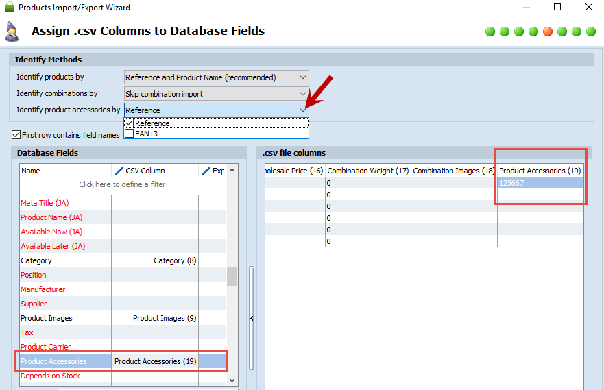 Assign Columns with Accessories to Database Fields