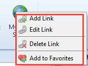 Context menu with possibility to delete