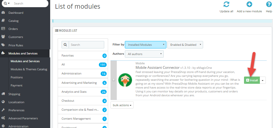 Install module option