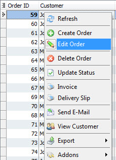 Edit order context menu