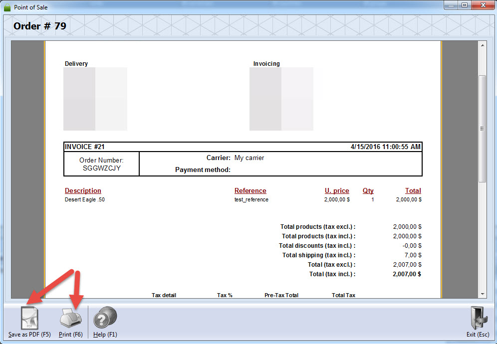 Print invoice of the order