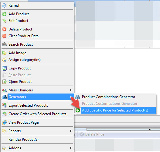 Add specifics price from context menu