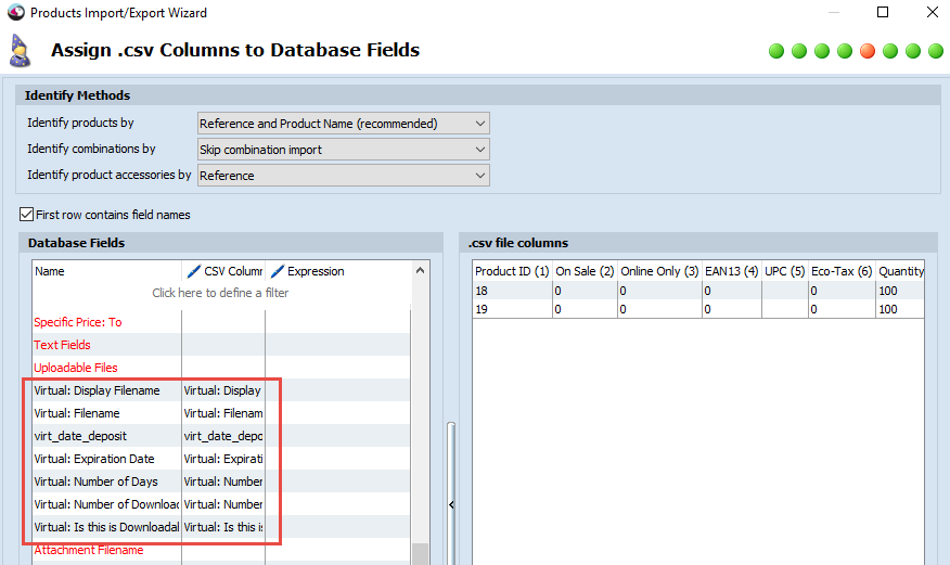 Assign columns to Database fields