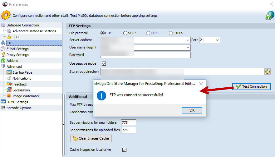 Test FTP Connection option