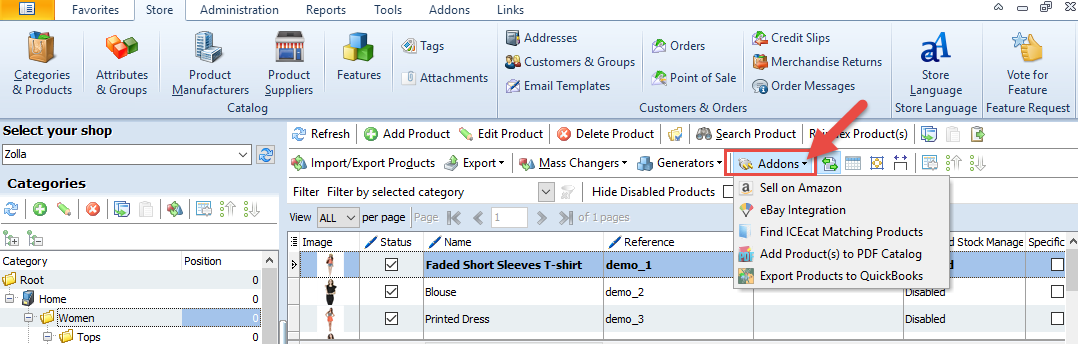 Addons option in the top toolbar