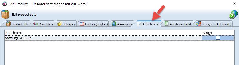Attachments tab