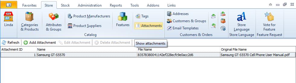 Show attachments