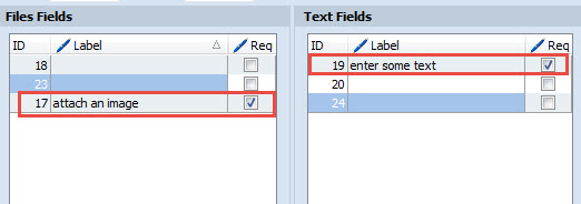 Required customized fields