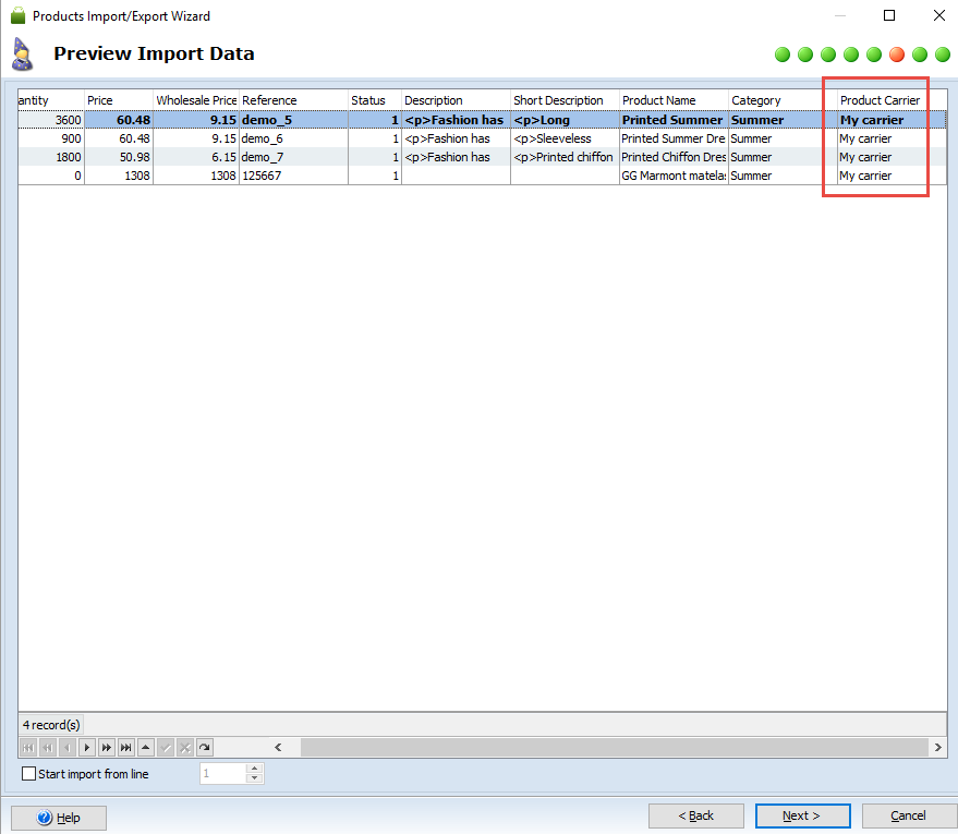 Preview import data step