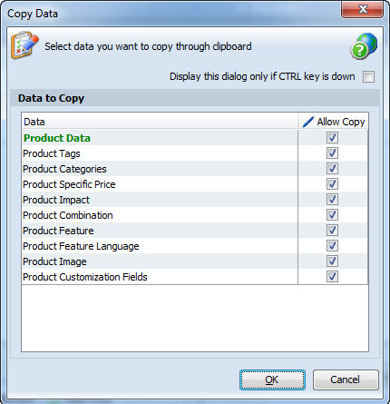 Select data to copy