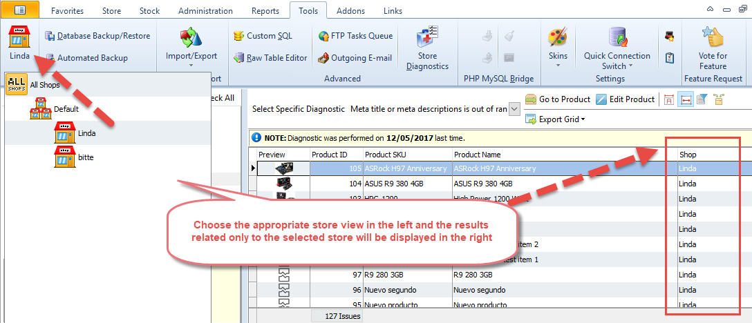 Results within selected Store View