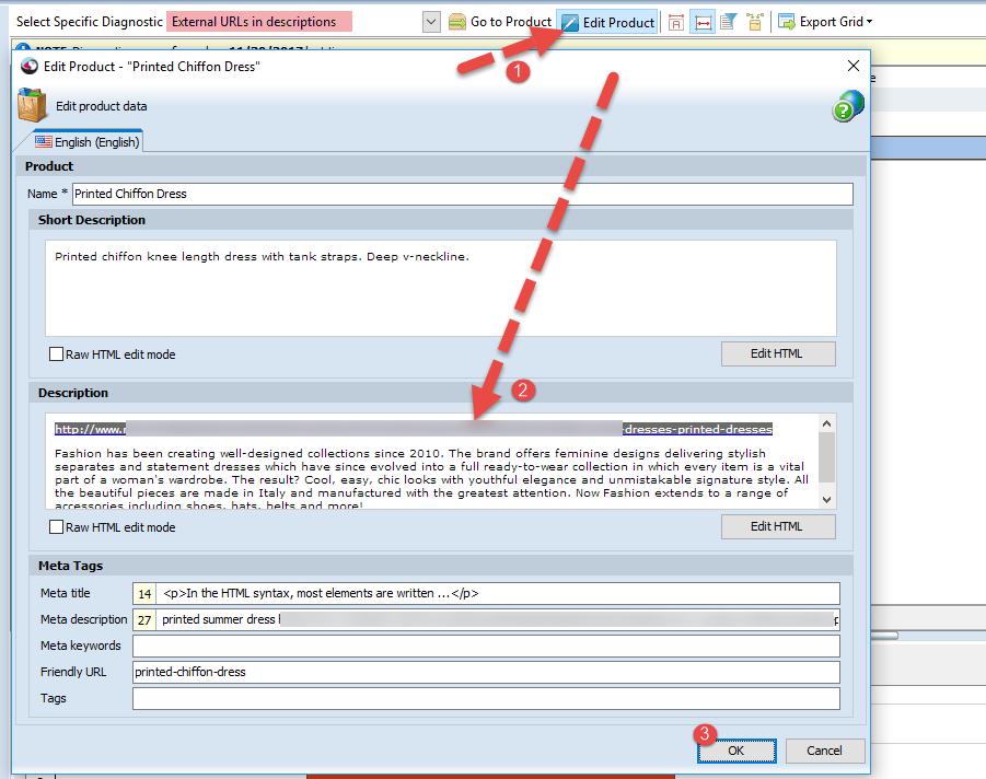 External URLs in Product Descriptions editing