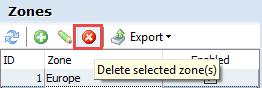 Delete selected zone