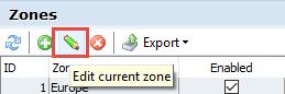 Edit current zone