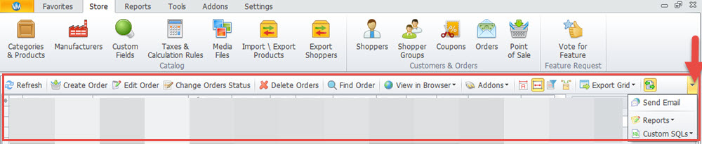 Orders top toolbar