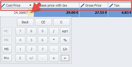 Price columns