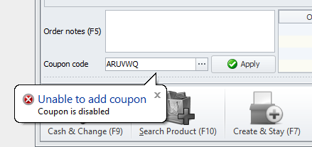 Unable to add coupon