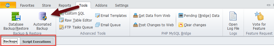 Automated backup's tabs