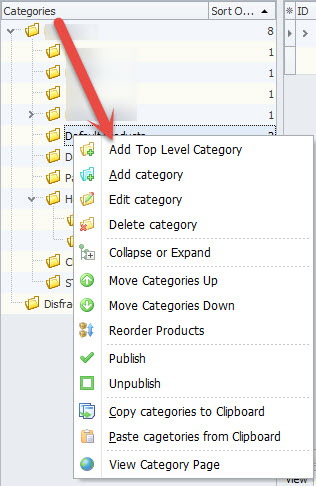 Categories context menu