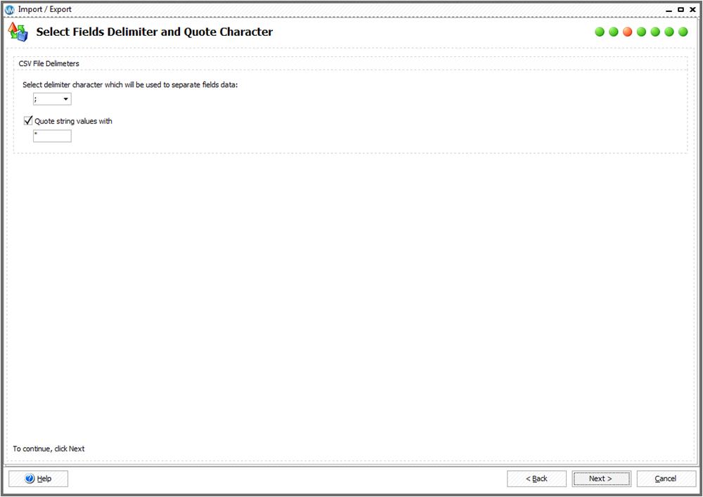 Select fields delimiters