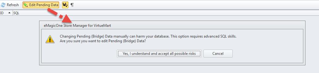 Edit Pending Data message