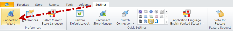 Connection wizard in Settings section