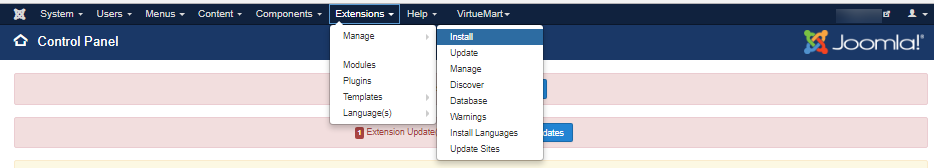 Find Extentions ->Manage->Install