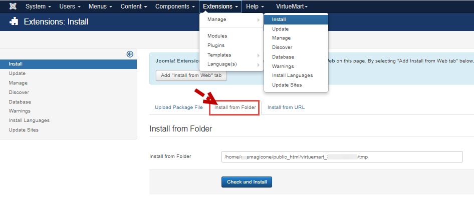 Install from Folder tab