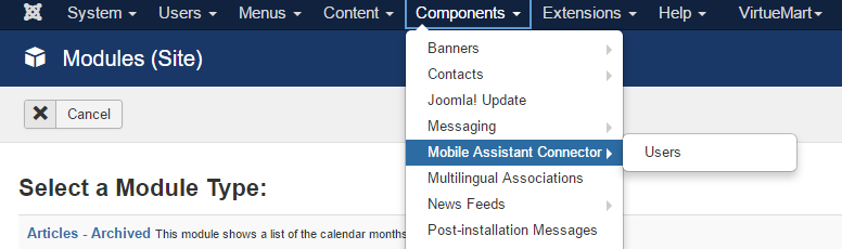 Mobile Assistant Connector in Components