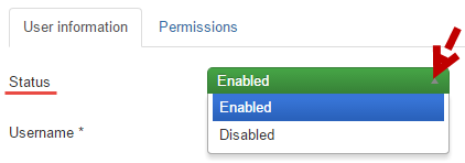 User's status