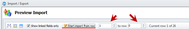 Specify rows to import