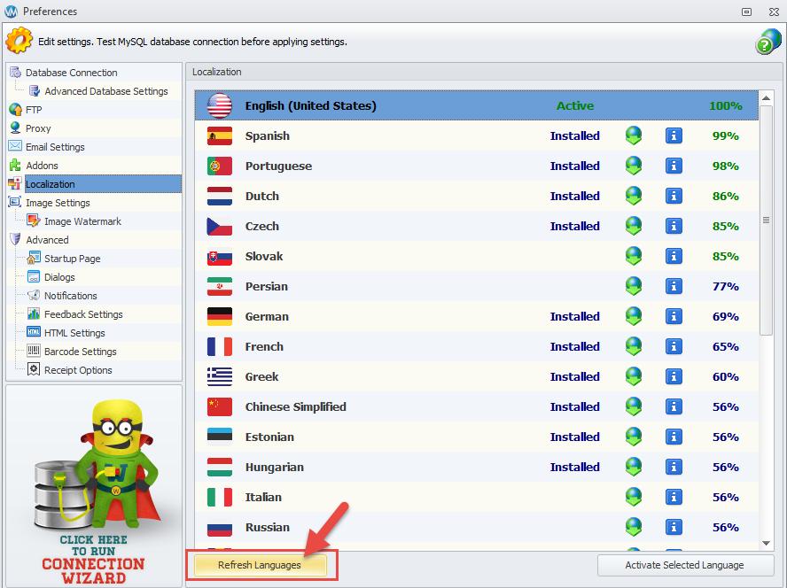 Refresh languages list