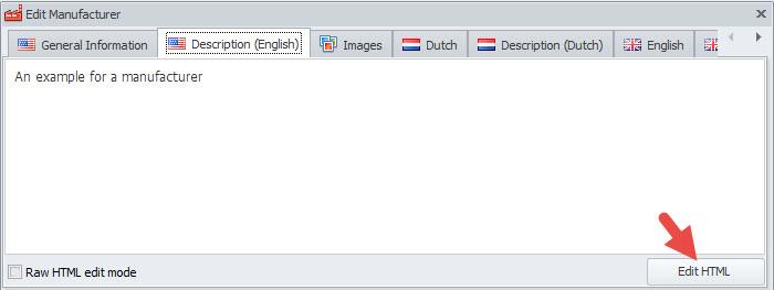 Edit HTML option