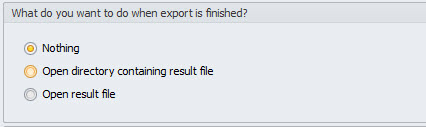 The actions after export