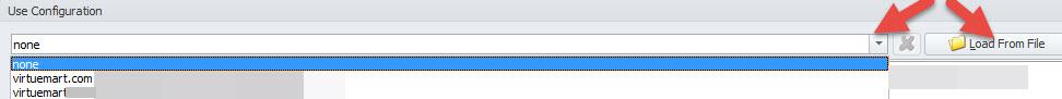 Upload saved configuration