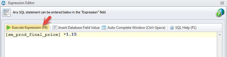 Execute Expression field