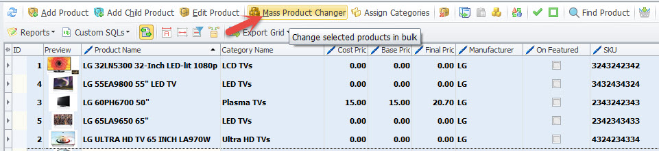 Mass product changer option