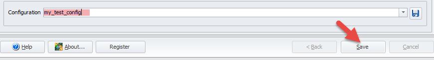Save configuration button