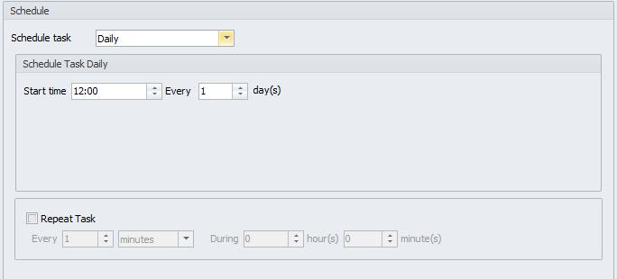 Schedule Configuration area